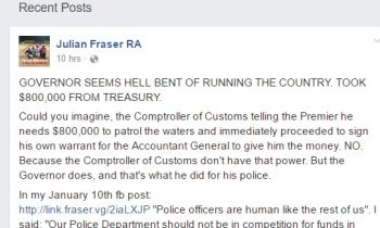 Part of the Facebook post by Opposition Member Hon Julian Fraser RA (R1) on March 16, 2017. Photo: Facebook