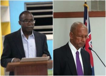 Honourable Julian Fraser RA, Third District Representative (left), stated that payments cannot be made to the asphalt company unless Dr The D. Orlando Smith (AL), Premier and Minister of Finance, provides the funds that are needed. Photo: VINO/File