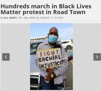 Deputy Speaker and Territorial At Large Member, Hon Neville A. Smith believed the photo of him at the Black Lives Matter march with a placard with a spelling error was a deliberate attempt by BVI News to portray him in a particular way, while hijacking the good works of the Black Lives Matter organising committee and the seriousness of the cause. Photo: BVI NEWS