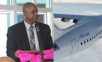 Opposition Leader Hon Andrew A. Fahie (R1), left, had long commented that a cow was likely to fly over the moon before BVI Airways got going. Photo: VINO/gobvi.com
