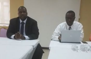 Opposition Leader, Honourable Andrew A. Fahie (R1) at left, and Attorney-at-Law, Jamal S. Smith during their interaction with the media on September 3, 2018. Photo: Team of Reporters