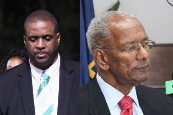 Opposition Leader Hon Andrew A. Fahie (R1), left, continues to squeeze out information on the BVI Airways deal from the secretive National Democratic Party of Premier Dr The Hon D. Orlando Smith (AL), right. Photo: VINO/File
