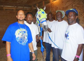 Alex V. Lake and his team from Family Affair Stables pose with Trading Secrets. Photo: Andre 'Shadow' Dawson/VINO