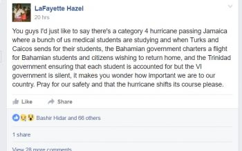 The Facebook post by medical student in Jamaica, LaFayette Hazel. Photo: Facebook