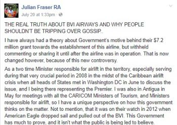 The recent Facebook post by former Leader of the Opposition and former Minister for Communications and Works Hon Julian Fraser RA (R3). Photo: Facebook