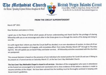 The Methodist congregation was informed of the closure and postponement of all fellowship activities via a letter by Circuit Superintendent Minister Dr Keith B. Lewis on Monday, March 29, 2021. Photo: VINO