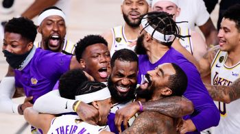 The Los Angeles Lakers celebrate after winning the 2020 NBA Championship in Game Six on Sunday in Lake Buena Vista, Florida. Photo: Douglas P. DeFelice/Getty Images