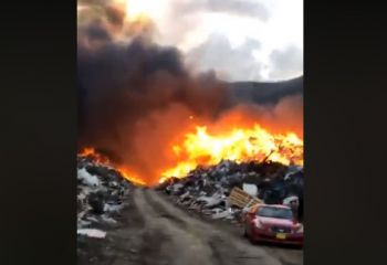 The fire raging at the Waste Management dumpsite at Cox Heath this afternoon, May 9, 2018. Photo: Team of Reporters