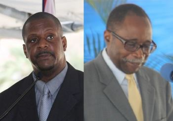 Governor John S. Duncan OBE had stripped Hon Julian Fraser RA (R3), right, of the title of Opposition Leader following a Virgin Islands Party internal election that saw Hon Andrew A. Fahie (R1), left, becoming party Leader. Photo: VINO/File