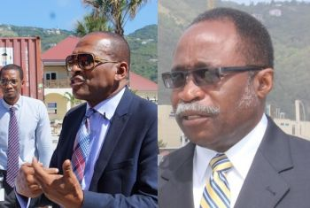 Information about the lack of water across the territory come out when Opposition Leader Hon Julian Fraser RA (R3), right, questioned Minister for Communications and Works Hon Mark H. Vanterpool (R4) in the House of Assembly on June 23, 2016. Photo: VINO/File