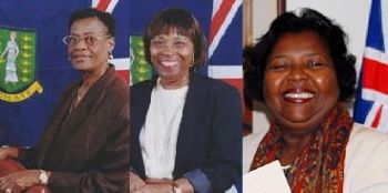 Some of the pioneer women in Virgin Islands politics have been, from left, Ethlyn Smith, Eileene L. Parsons OBE, and R. Dancia Penn QC. Photo: GIS/File