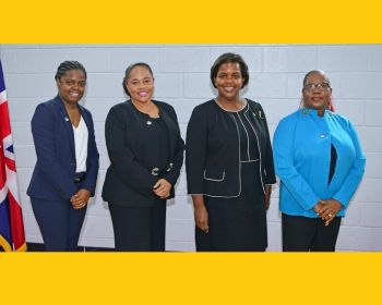 Junior Minister of Tourism and At Large Representative, Hon Sharie B. de Castro; Junior Minister for Trade and Economic Development and At Large Representative, Hon Shereen D. Flax-Charles; Attorney General, Honourable Dawn J. Smith; and Sixth District Representative, Honourable Alvera Maduro-Caines. Photo: GIS