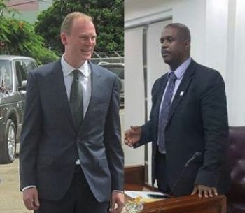 Governor Augustus J. U. Jaspert, left, announced today, January 22, 2018 that he has appointed Virgin Islander Sonia M. Webster, as Auditor General. It is unclear if Ms Webster will address Opposition Leader Hon Andrew A. Fahie's (R1), right, constant allegations of corruption against the National Democratic Party Government. Photo: VINO/File