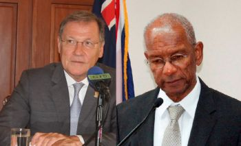 Governor John S. Duncan OBE, left, on March 16, 2017 used his powers to impose direct rule and demand from the National Democratic Party Government led by Premier and Minister of Finance Dr The Honourable D. Orlando Smith (AL), right, some $1.88M to be distributed to the Police, Magistrate's Court, Attorney General's Chambers and the Office of the Director of Public Prosecutions. Photo: VINO/File