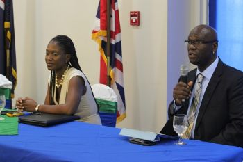Members of the TRC, Chairman Ayanna Hull (left) and CEO Guy Lester Malone. Photo: VINO