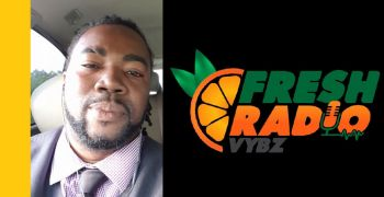 Bishop John I. Cline was interviewed on Monday November 20, 2017 by Paul A. Peart aka 'Gadiethz' (left) on the online radio station, Fresh Radio Vybz. Photo: Facebook