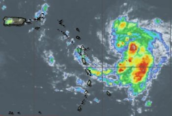The Department of Disaster Management (DDM) has this afternoon October 12, 2014 announced in a press release that the Antigua Met Service has issued a Tropical Storm Watch for the Virgin Islands for Tropical Storm Gonzalo, seen in satellite image above. Image: DDM