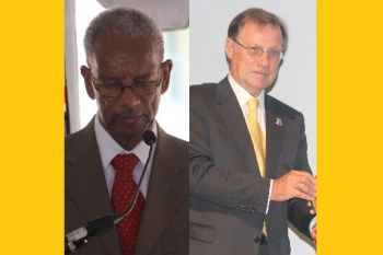 Former Governor of the Virgin Islands, John S. Duncan OBE, right, had created controversy when he invoked his constitutional power to take money from the Consolidated Fund to give to the police and other departments, virtually stripping the Minister of Finance, Premier Dr The Hon D. Orlando Smith OBE (AL), left, of his authority to determine where and how monies are spent. Photo: VINO/File