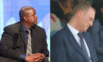 Premier and Minister of Finance, Honourable Andrew A. Fahie (R1), left, in his 2021 Budget Speech of November 12, 2020, called Governor Augustus J. U. Jaspert's, right, statement about alleged 'pockets of corruption in the Virgin Islands' irresponsible and asked for a retraction, which to date has not happened. Photo: VINO/File