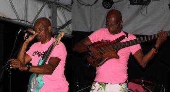 Two members of the internationally acclaimed, The Onyan Effect Band, on stage at BVI Spring Fest 2017. Photo: VINO