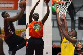 From left: Juan R. Hatchet, JaVaughn N. Cameron and Travis A. Isaac have also been named as players in the draft for the 2019 Hon Julian Fraser Save the Seed Basketball League. Photo: Provided