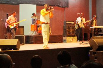 Local Gospel artiste Henry Nevers during his performance. Photo: VINO