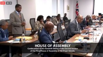 A screenshot of A screenshot of Second District Representative Hon Melvin M. Turnbull (standing) addressing the Eleventh Sitting of the Second Session of the Third House of Assembly (HoA) on December 13, 2017. Photo: Facebook