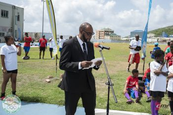 Deputy Speaker Honourable Neville A. Smith (AL), 1st Vice President of the BVI Olympic Committee (BVIOC) congratulated Chantel E. Malone (long jump), Kyron A. McMaster (400m hurdles) and Eldred Henry (shot put) on their outstanding achievements in qualifying meets as well as 17-year old, Thad Lettsome who was awarded a universality place in the men's laser event at the Lima 2019 Pan American Games. Photo: BVIOC