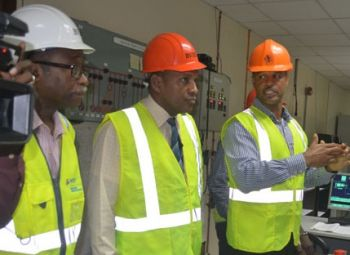 From left: Opposition Leader and Third District Representative Hon Julian Fraser RA, Minister for Communications and Works Hon Mark H. Vanterpool and BVEIC's Deputy General Manager Mr Henry O. Creque at the BVIEC's Power Plant at Pockwood Plant on September 15, 2016. Photo: VINO