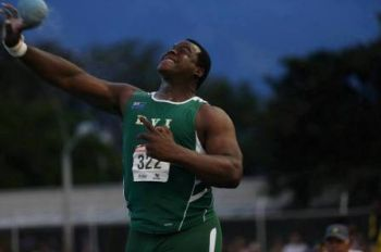 Strongman Eldred Henry took down Eric Mathias' 11-year old Hammer Throw record of 45.51m with his effort of 45.71, increasing his previous best of 41.89m. Photo: Provided