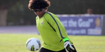 "USVI may have only registered one win, but their goalkeeper Nick Muriel is considered legally blind with a short-sighted condition. He doesn't let it get in his way, though. ""It's a thinking man's game, you have to be smart and think of the possibilities and outcomes,"" he enthused. Photo: Provided"