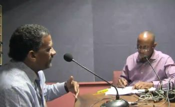 Deputy Premier and Minister for Natural Resources and Labour, Dr The Honourable Kedrick D. Pickering (R7), left, was a guest on the show 'Honestly Speaking with Claude O. Skelton-Cline' aired live on ZBVI 780 AM on March 20, 2018. Photo: VINO/File
