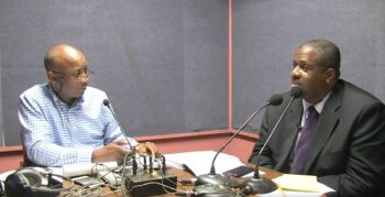 Leader of the Opposition and First District Representative Honourable Andrew A. Fahie, right, and commentator Claude O. Skelton-Cline, left, on the Tuesday May 1, 2018 edition of the Honestly Speaking show aired on ZBVI 780 AM Radio. Photo: Facebook