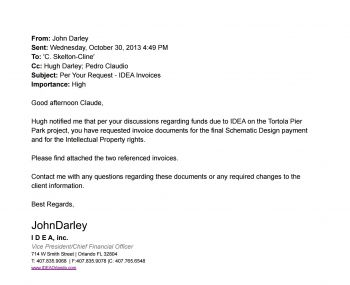 An email between John Darley of IDEA Inc and BVIPA Managing Director Claude O. Skelton-Cline dated October 30, 2013. Photo: VINO