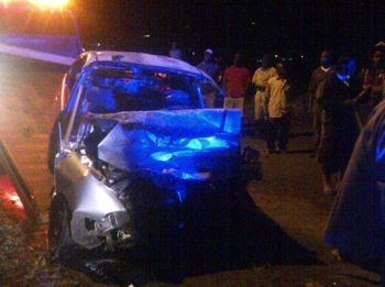 The car with license plate PV 0635 that collided head-on with an SUV. Photo: VINO