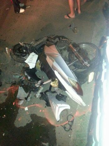 The mangled motorcycle which was involved in tonight's accident with a pickup on Virgin Gorda. Photo: Team of Reporters