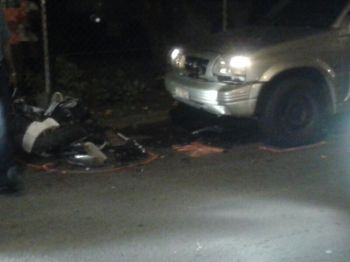 The mangled motorcycle and the pickup on the scene of the accident tonight April 9, 2014. Photo: Team of Reporters