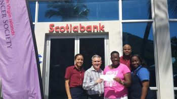 October 31 marks the end of breast cancer awareness month but according to Ms Fahie the cause lives on until a cure is found and appealed to all to join the fight for a cure. She was high in praise to Scotia Bank, one of the most recent to have made a sizable donation to the organization during this month. Photo: VINO