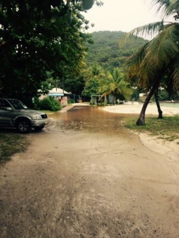 Parts of Jost Van Dyke under water today. Photo: Team of Reporters