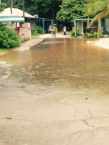 Ponding in Jost Van Dyke following rains today. Photo: Team of Reporters