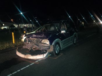 One of the badly damaged vehicles following the accident. Photo: VINO