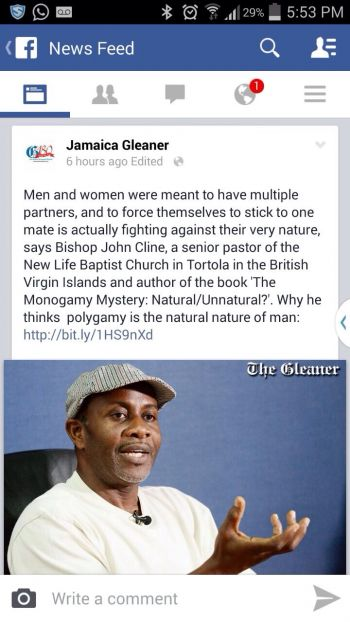 The controversial post on Facebook by Jamaica Gleaner. Photo: VINO
