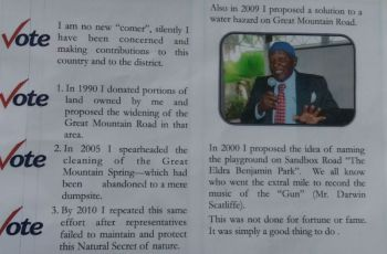 In outlining some of the reasons why persons of the Fifth District should vote for him, Brother Shabazz said he can be relied upon as having the interest of the people at heart and he has proven so over time, noting that in 1990 he donated very large portions of lands owned by him and proposed the widening of the Great Mountain Road in that area. Photo: VINO