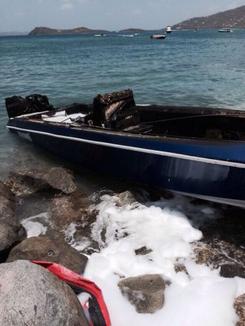 The boat following the extinguishing of the flames. Photo: Team of Reporters