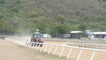 Anticipated as one of the most riveting meets at Ellis Thomas Downs, the Virgin Islands Horse Owners' Association this morning, May 31, 2015 put together the final piece to ensure a smooth execution of the event- the preparation of the track. Photo: Team of Reporters