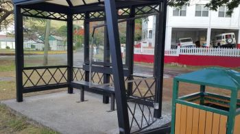 Just a week after being commissioned, one of the public bus sheds erected by the Rotary club of Road Town was extensively damaged. Photo: VINO