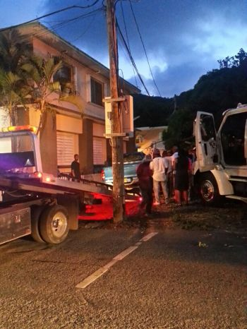 The pickup truck involved in the accident about to be loaded on to a wrecker. Photo: VINO