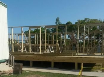 A new building that will house a science laboratory and two additional classrooms is being constructed in the compound of the Claudia Creque Educational Centre. Photo: VINO