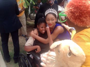 Miss BVI Sasha O. E. Wintz has declared and demonstrated that she has a soft spot for differently abled children. Photo: VINO