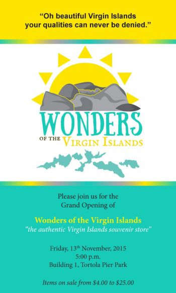 A flyer for the launch of the new souvenir store Wonders of the Virgin Islands. Photo: Provided